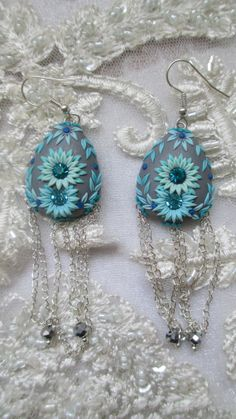 Sparkle Flowers Polymer Clay Earings by Lena by StoriesMadeByHands, $62.00