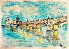 by AnQuirks on DeviantArt Prague, A3, Big Ben, Postcards, Bridge, Deviantart, Watercolor, Landscape, Painting