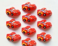 2 Pcs - Lightning McQueen Inspired Resin Flatback Cabochons (RS136) bow center, headband, hairbows