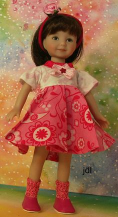 """Pink Ripples - Heartstring Elizabeth 8"""" Dinna Effner Doll by JDL Doll Clothes #HeartstringDoll8"""