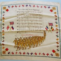 World War I Large Unused Printed Handkerchief / Scarf - It's a long, long way to Tipperary
