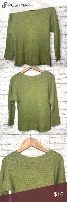 """Ann Taylor Loft Olive Green Side Zip Small Sweater Excellent preowned condition  Material  42% Rayon  22% Wool  17% Nylon  4% Rabbit Hair   Measurements laying flat  Underarm to underarm 18""""  Length 21""""  Underarm to cuff 14""""  Measurements are approximate   Check out my other items Ann Taylor Loft Sweaters Crew & Scoop Necks"""