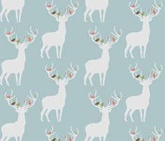 not_alone_winter_spoonflower fabric by troismiettes for sale on Spoonflower - custom fabric, wallpaper and wall decals