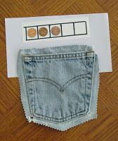Jeans Pocket Recycling = Add/Subtract Game for Any Target Number, easy game for . , Best Picture For Montessori Activities by age For Your Taste You are looki Autism Learning, Fun Learning, Early Learning, Money Activities, Book Activities, Teaching Time, Teaching Math, Teaching Ideas, Money Week