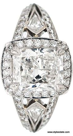 MICHAEL BEAUDRY Cushion Cut Diamond Platinum Engagement Ring ~ 2.01CT Center Diamond.