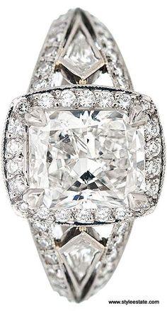 MICHAEL BEAUDRY Cushion Cut Diamond Platinum Engagement Ring ~ 2.01CT Center Diamond.