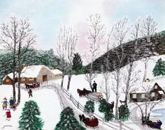 Grandma Moses - artwork prices, pictures and values. Art market estimated value about Grandma Moses works of art. Email alerts for new artworks on sale Grandma Moses, Snow Pictures, Snowy Day, Oil Painting Reproductions, Naive Art, Paintings For Sale, Art Paintings, Teaching Art, Magazine Art