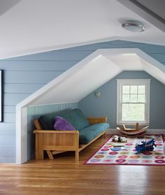 Attic Room Design- white ceiling and slant wall, color below
