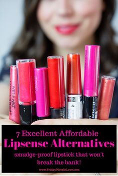 Love smudge-free, non-kiss-off lipstick, but have a hard time shelling out $55 for Lipsense? This post goes through 7 Lipsense Alternatives that are excellent quality, don't smudge off, and are all super affordable! There's YouTube movies showing morning application thoughts and evening results, pictures, and links to all the products! This is such a great roundup of lipsticks that last!