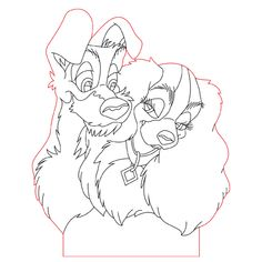 Lady and Tramp 3d illusion lamp plan vector file for CNC - 3bee-studio