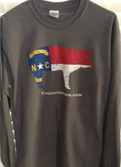 Cheshire Pork by Heritage Farms - New Cheshire Pork NC Flag Long Sleeve T-Shirt FREE SHIPPING!, $18.00 (http://www.heritagecheshire.com/new-cheshire-pork-nc-flag-long-sleeve-t-shirt-free-shipping/)
