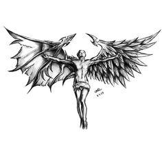 160 Evil Tattoo Designs - Devil Or Angel Fallen Angel Tattoo, Angel Devil Tattoo, Demon Tattoo, Angel And Devil, Dark Tattoo, Wing Tattoo Men, Wing Tattoo Designs, Sketch Tattoo Design, Angel Tattoo Designs