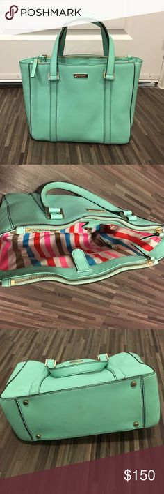 *REDUCED PRICE Kate Spade Mint Purse Kate Spade purse. Two side zipper pockets and inside pockets. Mint colored. kate spade Bags