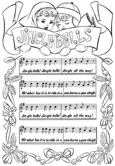 This Is A Darling Free Printable Christmas Coloring Page Featured Above Are 2 Adorable Children Holding Jingle Bells Sign In Their Mittened Hands