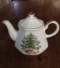Vintage Porcelain Teapot with Christmas Tree Design on Etsy, $15.00