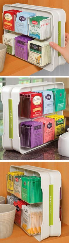 Tea Stand // organizer caddy that holds 100 tea bags