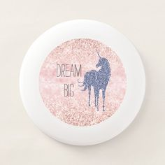 Girly Glam Blush Pink Purple Unicorn Glitter Wham-O Frisbee - tap to personalize and get yours #WhamOFrisbee #girly, #glam, #blush-pink, #purple, #unicorn,