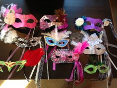 DIY masquerade masks; love the lower left one in green - Murder Mystery Dinner