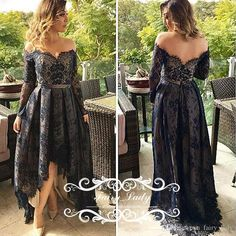 High Low Black Lace Evening Dresses With Long Sleeves Sheer Off Shoulder Backless Ankle Length Elegant Women A Line Party Prom Gowns Petite Evening Dress Petite Long Evening Dresses From Fairy_lady, $110.41| Dhgate.Com