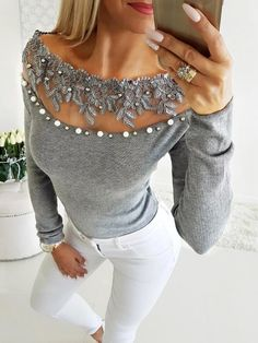 Women's Clothing Beading Lace Applique Embellished V-cut Top Sexy Mesh Sheer Pearls Blouse Autumn Fashion Grey Tops Femme Long Sleeve Shirt Women
