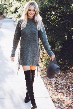 Lauren Bushnell wearing Lovers + Friends x Revolve Em Sweater in Stone, Dolce Vita Neely Boots and Janessa Leone Cherina Hat in Asphalt