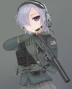 Anime Girls With Guns Cool Anime Girl, Beautiful Anime Girl, Anime Girls, Anime Military, Military Girl, Comic Pictures, Manga Pictures, Anime Oc, Anime Manga