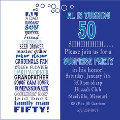 Awesome FREE Template Funny 50th Birthday Party Invitation Wording Diy Invitations Anniversary