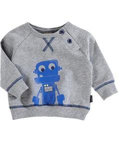 Name It Schattig Grijze Sweater met Robotje #emilea