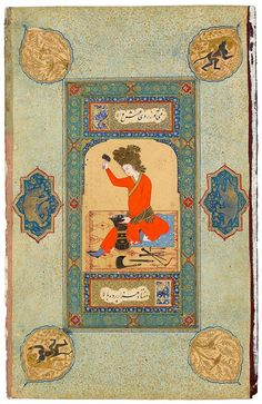 An Aristocratic Smithy Leaf from the Read Persian Album. Herat (Afghanistan), C;a. 1600, after Ḥabīb-Allāh al-Mashhadī. 378 x 241 mm Purchased by Pierpont Morgan, 1911.; MS M.386.11. The Morgan Library & Museum