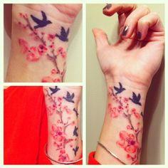 Cherry Blossom Tattoo  #cherryblossoms #tattoos #blackbirds