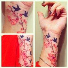 Cherry Blossom Tattoo  #cherryblossoms #tattoos #blackbirds