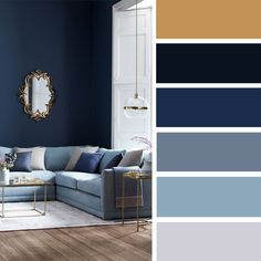 100 Color Inspiration Schemes : Gold + Gray + Blue Color Palette ,blue hues #bluehue #colors #colorpalette