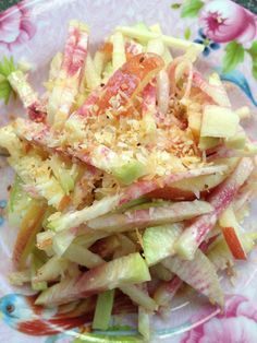 Watermelon Radish, Apple & Celery Slaw with a Maple Lime Vinaigrette & Toasted Coconut. . .