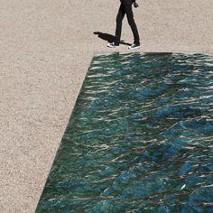 Liquid marble sculpture by Mathieu Lehanneur for the Petite Loire Installation at the International Garden Festival