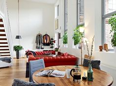 Apartment: Amazing Terrace Design On Eriskberg Apartment Near Light Brown Colored Wooden Chairs Along With Classic Red Brick Outer Wall from Scandinavian Apartment Showing an Eclectic Open Room