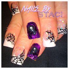 Cute spider Halloween nails