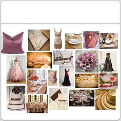 colors of champagne gold, chocolate brown, pink champagne and plum; make up my own wedding mood board.. ❤❤❤