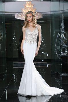 Simone Carvalli wedding dress style 90213 #vneck #straps #sparkle