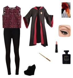 """Rosalie: The Triwizard Tournament Winners"" by captain-america-334 ❤ liked on Polyvore featuring AG Adriano Goldschmied, Alberta Ferretti, Forever Link, LORAC, MAC Cosmetics and Chanel"