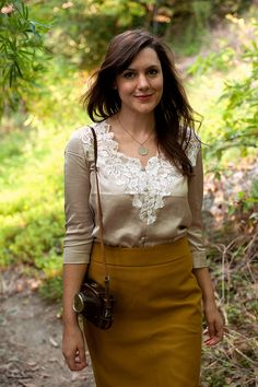 silk lace blouse + yellow skirt