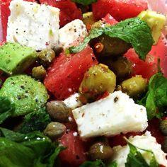 Mediterranean Watermelon Avocado Salad ... Yummmm