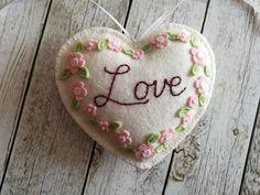 Wool Felt Love Embroidered Heart Ornament Wedding gift