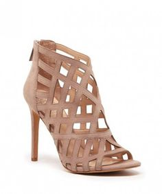 Caged high heeled sandals in nude suede