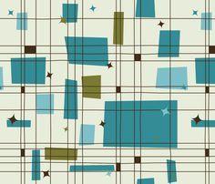 Mid-Century Modern - Grid & Stars (Teal) fabric - studiofibonacci - Spoonflower