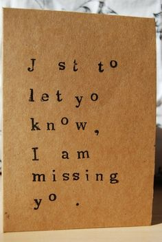 Missing you type card A6