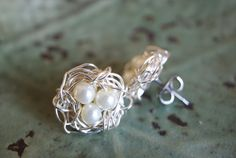 Birdsnest stud earrings by CairParavelCreations on Etsy, $10.00