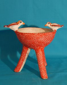 This ceramic vessel was made for burning copal incense. It comes from the area of Jamiltepec, on the Pacific coast of Oaxaca, Mexico. Tripod vessels like this are an ancient form of Mixtec pottery in Oaxaca.