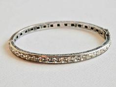 Vintage Victorian Channel Bracelet Sterling Silver Bangle