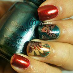 Happy Thanksgiving!!! NailaDay: Adventures in Stamping Sunday Stamping: Thanksgiving nails with China Glaze Vintage Vixen polishes