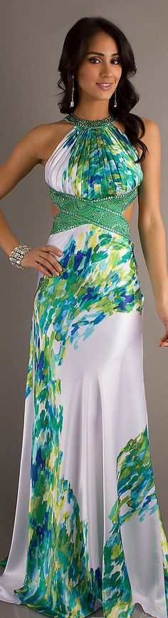 Fashion long dress #sexy #white #green #colorful #elegant #formal #dresses